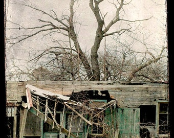 "Dark Fairy Tale Photograph ""House Where Nobody Lives"" Shabby Rustic Haunted Forest Woodland Photograph"