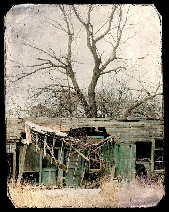 """Dark Fairy Tale Photograph """"House Where Nobody Lives"""" Shabby Rustic Haunted Forest Woodland Photograph"""