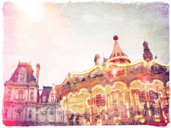 """Parisian Carousel Photo """"The Carnival is Over"""" Fine Art French Vintage Photograph - European Travel Art - Pink Pastel Dreamy Glow"""