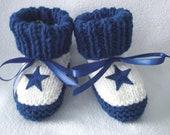 Custom handmade knit NFL Dallas Cowboys baby booties 0-12M-cute gift photos