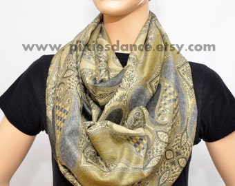 Golden Gray Paisley scarf - Infinity scarf