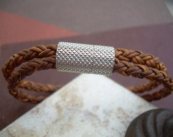 Mens Braided Leather Bracelet, Natural Light Brown, Double Strands, Stainless Steel Magnetic Clasp, Mens Bracelet, Mens Jewelry, Mens Gift