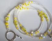 Yellow Ribbon Sarcoma / Childhood Cancer Awareness Beaded Lanyard ID Badge Holder