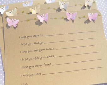 Baby  Wishes Cards - Baby Shower Advice Cards -  Kraft Paper Baby Wish Cards -  Butterfly Baby Shower Wish Cards BTFLBWK