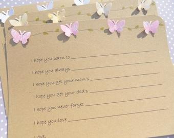 Baby Wish Cards - Baby Shower Cards -  Butterfly Cards - Baby Shower Games - Fun Shower Games - Baby Girl - Baby Boy  BTFLBWK