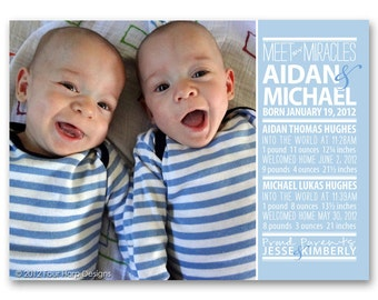 Twins Preemie Birth Announcement, Welcome Home, Typography - a printable photo card for your little miracles.