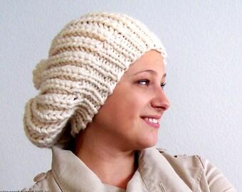 Chunky Knit Hat with Pom Pom, Womens Slouchy Beanie Hat, Knit Slouchy Hat, Slouch Hat, Womens Winter Hat, Knit Pom Pom Hat, Pom Beanie