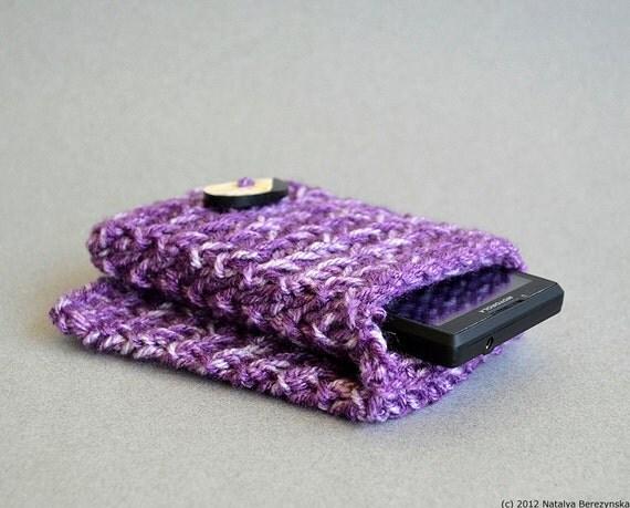 Purple Phone Case, Purple iPhone Case, Android Case, Knit Phone Case, Knit Cell Phone Case, Knitted Phone Case, Knitted Phone Cover