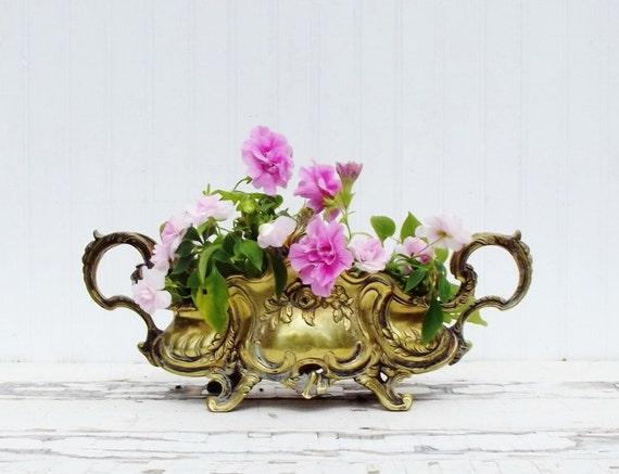Vintage Brass Jardiniere Art Nouveau Style