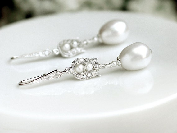 Bridal Pearl Earrings / White Freshwater Pearls w Crystal in Sterling Silver / Baroque Tulip Silver Rose