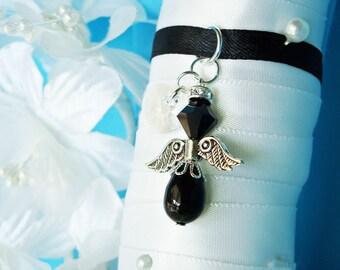 Black Wedding Angel Bouquet Charm Swarovski Crystal Wedding Bouquet Accessories