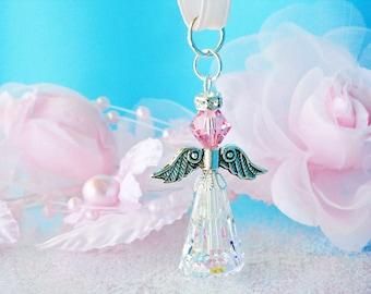 Crystal Guardian Angel Charm Swarovski Light Pink Crystal Angel