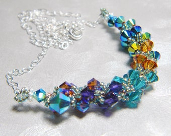 "Coppery Peacock Swarovski Crystal Necklace Jet 2X AB Blue Zircon Crystal Copper and Sterling Silver -  ""Saraswati"""