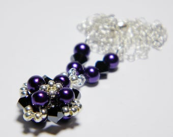 "Purple Glass Pearl and Swarovski Hematite 2X Necklace Silver Seed Beads Beadweaving Sterling Silver - ""Lizzie's Dark Delight"""