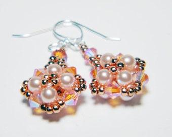 "Pink Glass Pearl Rose Peach 2X AB Swarovski Crystal Copper Metallic Seed Beads Beadweaving Sterling Silver - ""Full Bloom"""