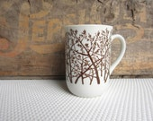 Vintage Woodland Trees Brown on White Mug made in Japan