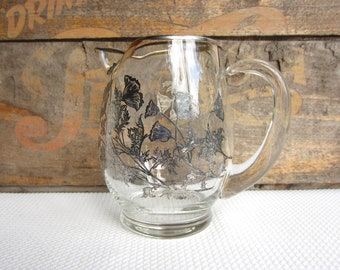 Vintage Glass Pitcher with Silver Overlay Poppy Flowers