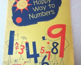 Vintage 1963 Happy Way to Numbers Workbook Preschool Kindergarten Early Childhood Education