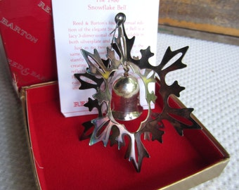 Vintage 1986 Reed and Barton Snowflake Bell Ornament