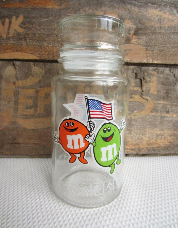 Vintage 1984 M and M Candy USA Olympic Glass Jar Anchor Hocking