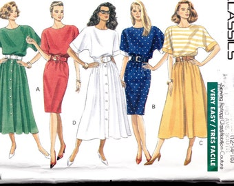 DRESS tapered or flared skirt Butterick 4719 Sewing Pattern size 12 14 16 Misses Dolman sleeves pullover dress