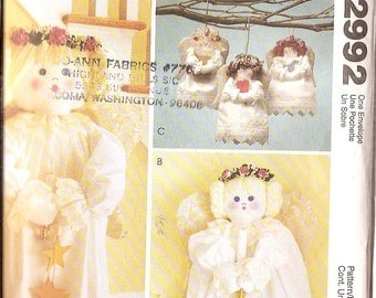"""ANGELS  McCalls Craft 2992 angel wings figures sewing pattern angel figures door greeter 36"""" tall angel, ornament decoration soft figures"""