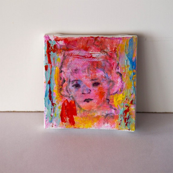 Original Painting on canvas 2.75x2.75 small, Lolita, red turquoise orange yellow, abstract tiny painting, modern wall art decor home