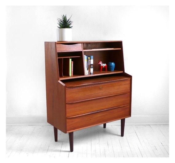 Desk Cabinet: Items Similar To Vintage Mid Century Teak Desk