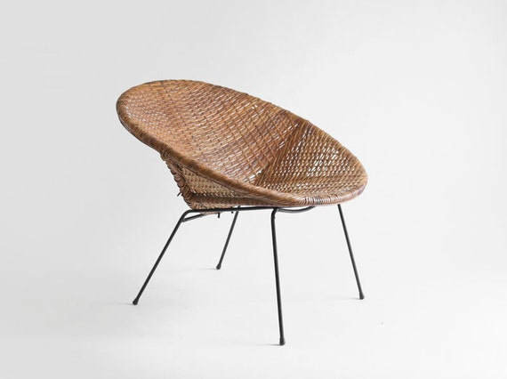 century basket chair lounge dining modern retro woven wicker