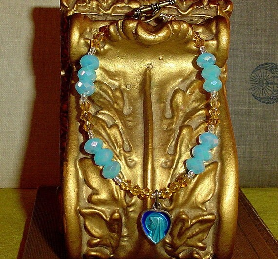 Vintage Mary Our Lady of Lourdes charm bracelet in blue and gold made by MABby