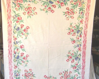 1950s Print Kitchen Table Cloth - South Western Garden