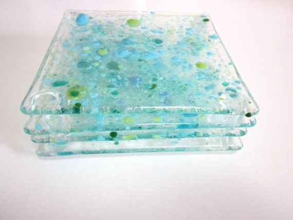 Coasters - Sea Color On Clear Glass