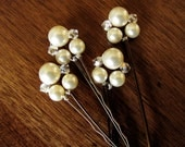 Set of 4 Hairpins -Pearl 6mm and 8mm Swarovski and crystal Bobby Pin Hair Jewelry - Set of 4