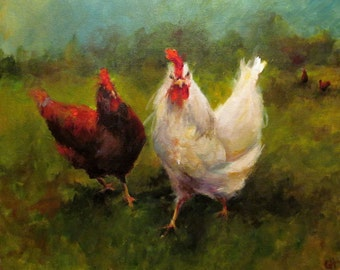 Chicken Painting - Chicken Approach- Giclee Paper Print of an original painting by Cari Humphry