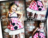 RESERVED Hot Pink Minnie Polka Dot dresses size 2t and size 8/10
