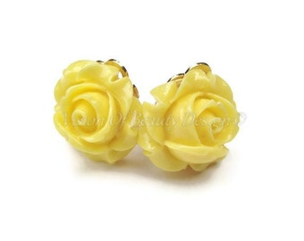 Yellow Rose Spring Flower Clip On Earrings