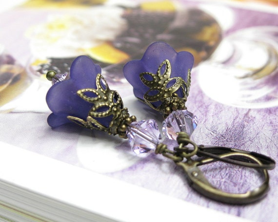 Deep Purple Frost, Vintage Style, Flower Earrings