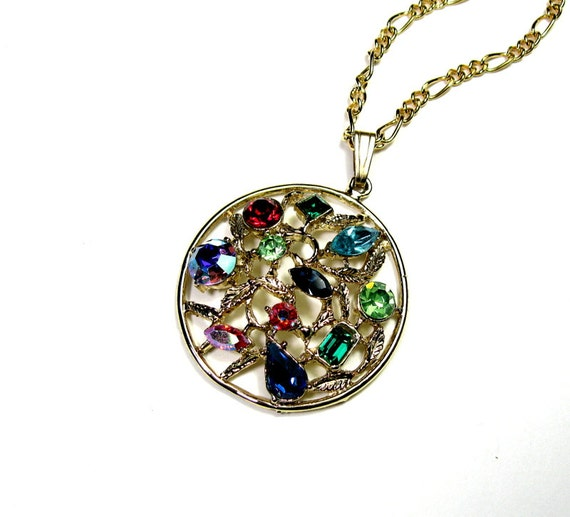 Colorful Vintage 1960s Crystal Nugget Pendant Necklace