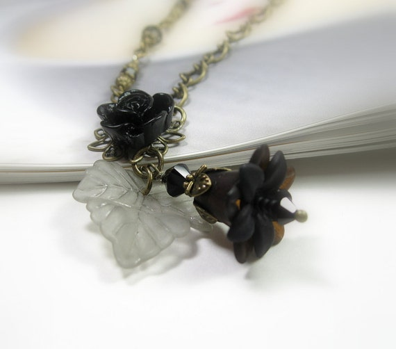 Black Flower Necklace, Halloween, Resin Floral Cabochon, Swarovski Crystal, Vintage Style Jewelry, Goth, Sexy, Feminine, Gifts for Women