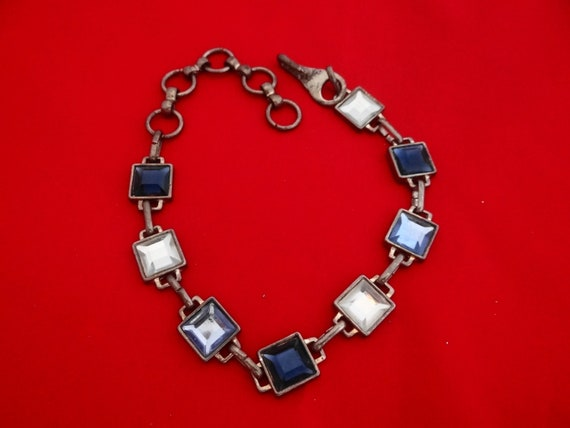 "Very vintage 14.5"" silver with patina, chunky and heavy necklace with blue faceted square.75"" rhinestones"