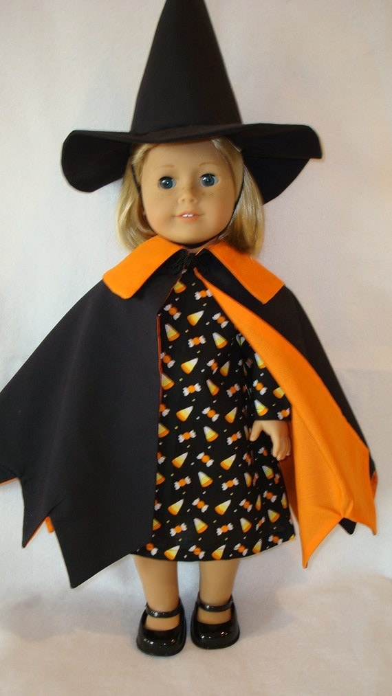 """American Girl Doll Clothes/Sweet Candy Witch/3 piece witch costume/ made for 18"""" American Girl Doll/READY TO SHIP"""
