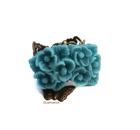 Clearance SALE - Blue Flower Resin Ring. Adjustable Ring. Blue Bouquet Charm Ring with Butterfly