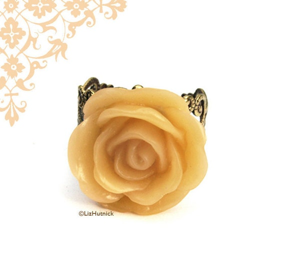 Clearance SALE Honey Rose Ring Brass Filigree Ring