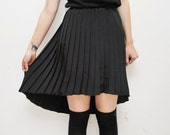 Silky black pleated HI LO fishtail skirt - small
