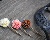 Brown, Pink, Cream Rose Bobby Pins. NEOPOLITAN.