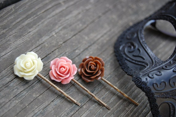 Brown, Pink, Cream Rose Bobby Pins. NEOPOLITAN.