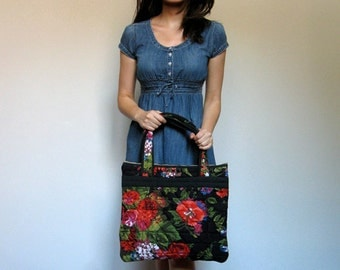 Floral Print Bag Tote Black Quilted Purse Floral Accessories Spring Fashion