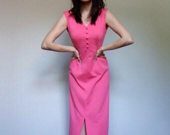 Hot Pink Maxi Dress Floor Length 70s Sleeveless Long Summer Dress - Small. Medium. S/ M