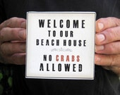 Mini Beach House Welcome Print on gallery wrapped 4x4 canvas