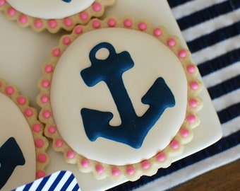 Navy & Pink Anchor Decorated Sugar Cookies (12)